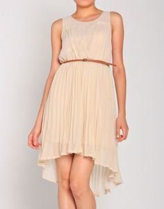 Golden Flakes Pleated Dress w/ Belt $ 31.99 >> Pretty!