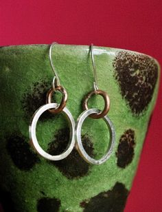 Chunky Sterling Silver Hoop and Copper Drop Earrings £15.00