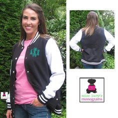 our LADIES' MONOGRAMMED FLEECE LETTERMAN JACKET!   lots of great colors!  http://misslucysmonograms.com/monogrammed-ladies-fleece-letterman-jacket/