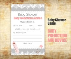 Baby Shower Game  Baby Shower Prediction and by StudioTwentyNine, $5.00
