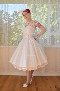 1950s 'Jessica' Rockabilly Wedding Dress with Lace por PixiePocket