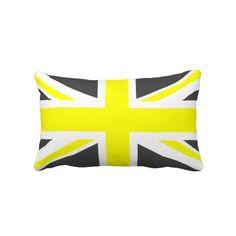 Dark Grey and Yellow Union Jack Pillows -- a bit too fluorescent but I still like it Grey Yellow, Dark Grey, Union Jack Pillow, Lumbar Pillow, Throw Pillows, Custom Pillows, Room Inspiration, The Neighbourhood, Make It Yourself