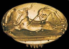 The origin of the Spanish bullfight'(Corrida) is coming from a game from lost atlantis culture called 'jump over the bull' or 'bull leaping'. Gold Minoan signet ring, ca. 1700 BC, from Arkanes, Crete. Greek History, Ancient History, Art History, Ancient Artifacts, Historical Artifacts, Minoan Art, Bronze Age Civilization, Mycenaean, Greek Art
