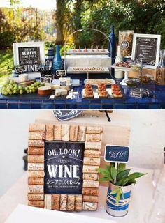 I have a really fun Rustic Wine & Cheese Party party recap to share with you today. this is a backyard party that Sonny & I recently hosted at Wine And Cheese Party, Wine Tasting Party, Wine Cheese, Decoration Buffet, Deco Buffet, Rustic Buffet, Unique Bridal Shower Gifts, Bridal Shower Wine, Wine Theme Shower