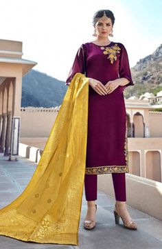 Discover the latest in stunning designer suits, salwar kameez online. Buy this intriguing embroidered work georgette satin straight salwar kameez. Salwar Suits Online, Designer Salwar Suits, Churidar Suits, Salwar Kameez, Patiala, Wedding Salwar Suits, Straight Cut Dress, Latest Kurti, Purple Pants