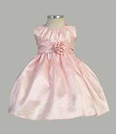 Pleated Solid Taffeta Sleeveless Dress