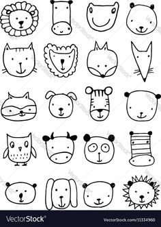 """Buy the royalty-free Stock vector """"Set of animal faces, sketch for your design. Vector"""" online ✓ All rights included ✓ High resolution vector file for p. Art Drawings For Kids, Doodle Drawings, Drawing For Kids, Easy Drawings, Animal Drawings, Art For Kids, Animal Doodles, Face Sketch, Sketch Notes"""