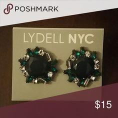 Earrings Green like emeralds rhinestones and either dark blue or black center earrings Lydell NYC Jewelry