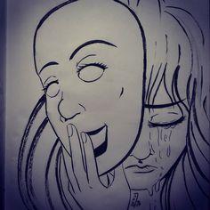 #inktober2016 #inktober #sketchbook #brushpen #sadness #mask #crying #depression