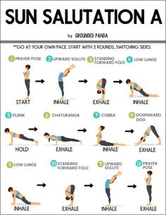 Learn how to do the 12 poses of Sun Salutations- beginner friendly! This is a wonderful flowing sequence to get your yoga practice started. Yoga for Weight Loss? 10 Yoga Postures for Weight Loss! Check It Now! Yin Yoga, Yoga Bewegungen, Vinyasa Yoga Poses, Yoga Fitness, Fitness Wear, Fitness Nutrition, Yoga Sun Salutation, Power Yoga, Yoga Flow Sequence