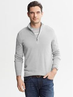 Grosgrain Half-Zip Pullover | Banana Republic
