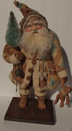 Handmade Santa Claus & Teddy Bear By Kim Sweet~Kim's Klaus~Dressed in antique~Mid 1800's Brown & Turquoise Quilt