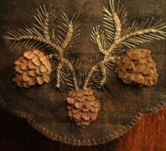 Wool Applique Pattern – 3 D Pinecones – Choice of Pattern Only or Pattern with Wool Kit - Wool Diy Motifs Applique Laine, Wool Applique Quilts, Wool Applique Patterns, Wool Quilts, Wool Embroidery, Felt Applique, Felt Patterns, Penny Rug Patterns, Wool Art