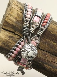 Pink and Silver Beaded Leather Bracelet-Boho Leather Wrap-Pink | Etsy Beaded Earrings, Beaded Jewelry, Silver Earrings, Silver Beads, Stud Earrings, Beaded Leather Wraps, Leather Cord, Leather Cuffs, Estilo Hippie