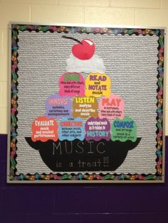 Music with Mrs. Dennis: Ice Cream Bulletin Board each scoop features one of the National Standards for Music Education in kid-friendly terms. Birthday Bulletin Boards, Classroom Bulletin Boards, Music Classroom, Classroom Decor, Preschool Bulletin, Elementary Music, Elementary Library, Class Decoration, Music Activities