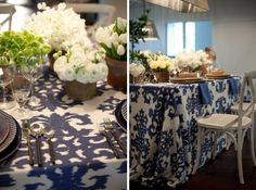 Casablanca Steel Blue linens from Latavola with white florals and playful navy patterned plates