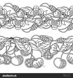 Seamless Pattern Borders Vector Set In Doodle Style Floral Ornate Decorative Garden Coloring Book