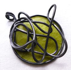 Lime green round steel wire pendant by MaikesMarvels on Etsy