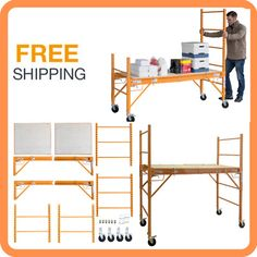 Pro Series 3-in-1 6 ft Scaffold Job Desk Utility Cart Scaffolding Rolling Rack