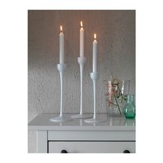 IKEA - BLOMSTER, Candlestick, set of glass, white, Mouth blown; each candle holder is shaped by a skilled craftsman. Comprises: 3 candlesticks (height 28 and 32 cm). Combines with other products in the BLOMSTER series. Ikea Inspiration, Apartment Furniture, Ikea Furniture, Glass Tea Light Holders, Candle Holders, Ikea Candles, Ikea Wedding, Candlesticks, Decorating Your Home