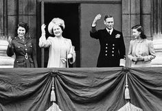 King George and Queen Elizabeth, with future Queen Elizabeth II and sister, Margaret-1945 - Click image to find more History Pinterest pins
