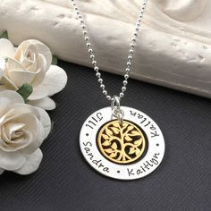 """Family Tree Necklace -  1"""" open circle washer with gold tree charm - mixed metal mommy jewelry"""