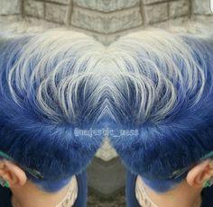 Blue hair Elumen short pixie clipper cut hair color by @majestic_mess shadow roots