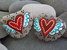 Inseparable / 2 Painted Rocks Set / Sandi Pike Foundas www.LoveFromCapeCod.etsy.com