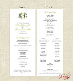 Printable DIY Wedding Programs  Simple But by LittleMagicCards, $25.00
