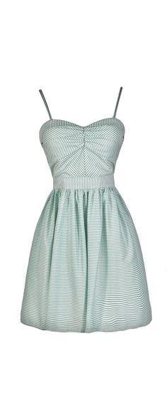 Shoreline Sweetheart Stripe A-Line Dress in Mint  www.lilyboutique.com