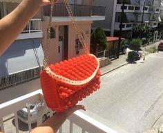 Women Crochet Shoulder Bag Orange Red Color Polypropylene Cordon Bags&Purses