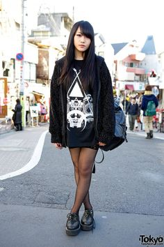Cool Style & Long Hair in Harajuku