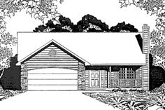 This inviting small house plan with a ranch style structure has over 1330 sq ft of living space. The one story floor plan includes 2 bedrooms. 2 Bedroom House Plans, Cottage Style House Plans, Bungalow House Plans, Cottage Plan, Ranch House Plans, Best House Plans, Small House Plans, Cottage Ideas, Cottage House