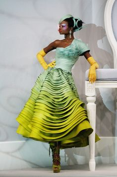 aqua to lime / Christian Dior HC 2007 / John Galliano - Say yes to this dress!! wow!