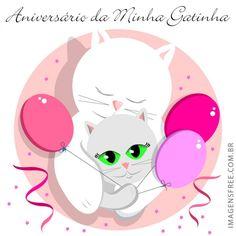 """Cartão de aniversário com desenho de gatinha e balões de aniversário. Contém a frase """"Aniversário da Minha Gatinha"""", formato 800px X 800px, formato excelente para Instagram. Veja outros desenhos, ilustrações e imagens de aniversário no site http://imagensfree.com.br"""