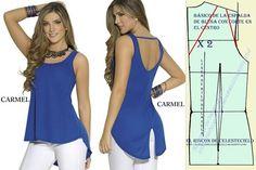 El Rincon De Celestecielo: Patrón básico de espalda de blusa con corte en el…