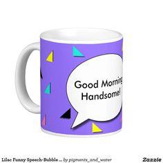 Lilac Funny Speech-Bubble Triangles Novelty Mug