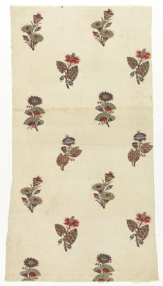 Textile Oberkampf * 1775–1785 cotton - block printed on plain weave White fragment with a detached design of multicolored flower clusters, berries and seed pods arranged in staggered rows.