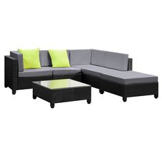 6 pcs Black Wicker Rattan 5 Seater Outdoor Furniture Lounge Set Grey Its's time to give your backyard a complete make-over with our stylish yet affordable outdoor furniture set. Whether it's for that festive outdoor dinne Outdoor Furniture Online, Affordable Outdoor Furniture, Outdoor Wicker Furniture, Garden Furniture Sets, Lounge Furniture, Bathroom Furniture, Wicker Couch, Wicker Shelf, Wicker Dresser