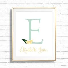 Lemon Name & Initial Monogram Art Print Personalized Citrus | Etsy Baby Monogram, Monogram Initials, Lemon Print, Online Printing Services, Nursery Art, Wall Signs, Printable Art, Gallery Wall, Art Prints