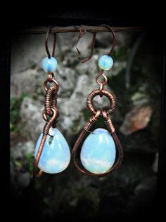 Opalite Copper earrings,Opalite Teardrop earrings by TemptationJewelryArt on Etsy
