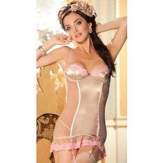 Pink Sexy Mesh and Satin Chemise Lingerie with Lace Trim