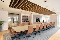 Boardroom design with feature timber ceiling insert and Maharam fabric wrapped panels. Corporate Interior Design, Corporate Interiors, Office Interior Design, Office Interiors, Office Ceiling Design, Conference Room Design, Industrial Office Design, Uk Europe, Timber Ceiling