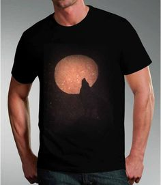 Wolf t-shirt, howling, full moon , lone wolf Tshirt, Christmas gift, mens, gifts for men, gifts for pagans, wolf tshirt, black and orange, by nytmothdesigns. Explore more products on http://nytmothdesigns.etsy.com