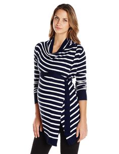 037da5f54cf10 JoJo Maman Bebe Women's Maternity Breton 4-In-1 Cardigan, Navy/Ecru Stripe,  X-Small at Amazon Women's Clothing store: