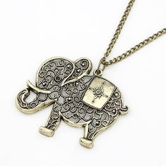 Fashion cute Europe and the United States retro personality hollow out elephant Metal Necklace&Pendants For Women