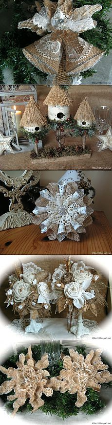 16 Awesome Ideas for DIY Christmas Decorations Art and Craft Christmas Ornament Crafts, Christmas Projects, Christmas Wreaths, Christmas Decorations, Hessian Crafts, Navidad Diy, Christmas Wonderland, Burlap Flowers, Decoration Table