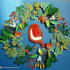 A fantastic creation from @emmaboyespapercreations Merry Christmas everyone!  #christmaswreath #christmasdecorations #artstudio #goodartguide  #artsy #robin #birdsofinstagram #copyrightemmaboyes#art #illustration #picture #artist  #sketchbook #paper #instaart #beautiful #instagood #gallery #masterpiece #creative #photooftheday #instaartist #graphic #graphics