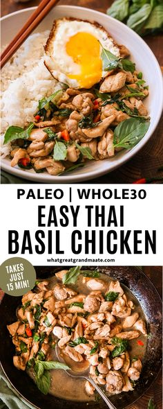 Quick and easy Thai basil chicken that's spicy, delicious, and authentic! It just takes 15 minutes to make and it's a perfect meal for a busy weeknight. #paleo #whole30 Spicy Thai Basil Chicken Recipe, Chicken Recipes, Basil Recipes, Real Food Recipes, Healthy Asian Recipes, Quick Weeknight Meals, Healthy Slow Cooker, Whole30 Recipes, Paleo Dinner