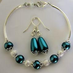 Teal and Silver Glass Pearl Bracelet and Earrings Set, Winter Wedding Set, Bridesmaid Set by SaltwaterDaydreams on Etsy